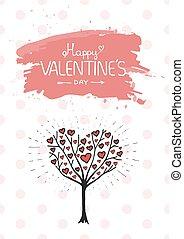 valentine, árbol, con, corazones, vector