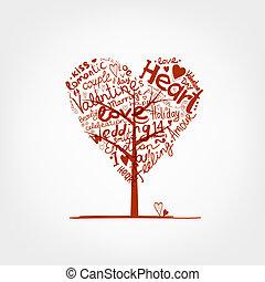 valentine, árvore, forma coração, para, seu, desenho