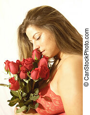 Valentine 2105 - young woman with roses