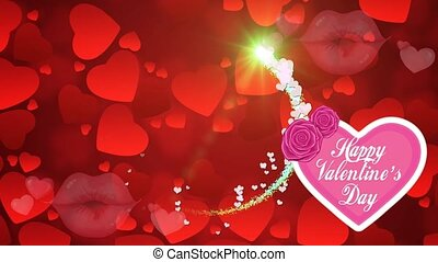 Red colour heart background  with Shinning sparkles for TV Program with Valentine or Wedding Background theme. Seamless loopable HD video.