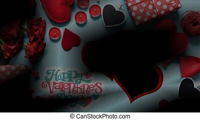 Red Heart with gift box on background images with alpha backgrounds for TV Program with Valentine or Wedding Background theme. Seamless loopable HD video.