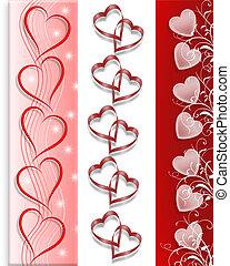 valentine, 3, fronteiras, corações