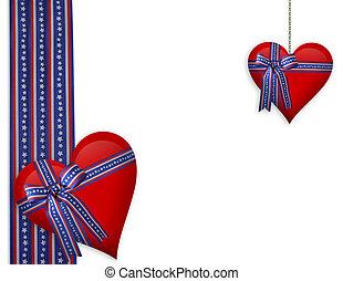 valentine, 4th, corações, julho, borda, ou