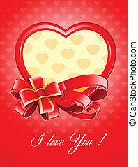 valentine, als, herz, mit, schleife, vektor, abbildung