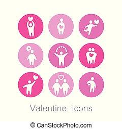 valentine, amor, ícones