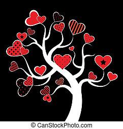 valentine, amor, hoja de árbol, de, corazón