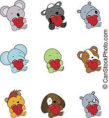 valentine animals set01 - valentine animals set in vector...