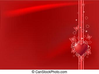 valentine, arrière-plan rouge, jour