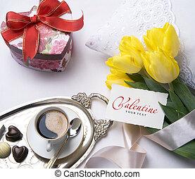 valentine, art, carte voeux, jour
