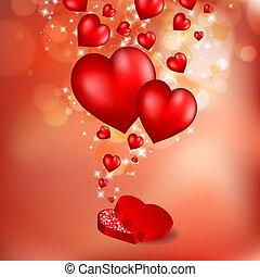valentine, astratto, volare, augurio, hearts., rosso, giorno, scheda