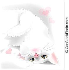 valentine, augurio, gatto, giocoso, bianco, giorno, scheda