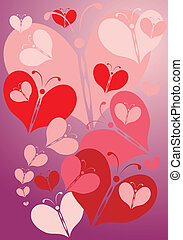 valentine background - colored hearts on the soft purple...