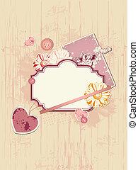 Valentine background - vector scrapbooking kit for...