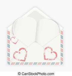 Valentine background. Realistic envelope with attached paper heart.