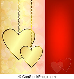 Valentine background with gold hearts