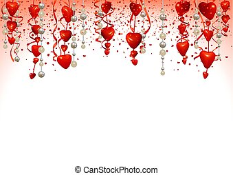 Valentine Background with Hanging Hearts