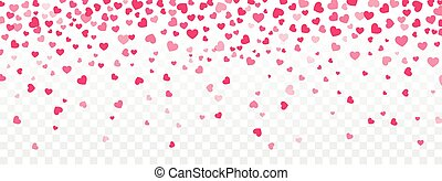 Valentine background with hearts falling on transparent