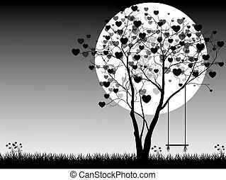 Valentine background with tree and moon, Valentine's Day. Vector Illustration.