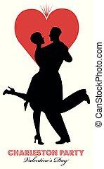 valentine, ballo, vestiti, giorno, grande, cuore, fondo., festa, coppia, charleston., dance., il portare, charleston, bianco, isolato, retro