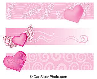 Valentine-baner - Pink set of banners background