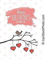 Valentine bird with card. Vector illustration