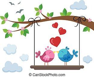 Valentine birds on board below branch 1