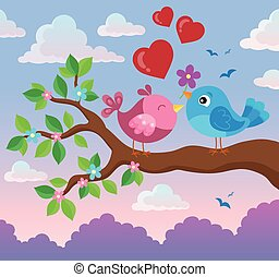 Valentine birds on branch