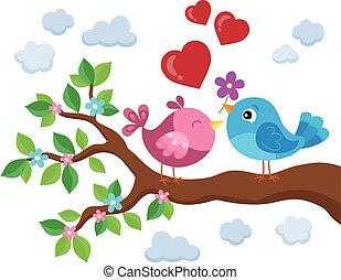 Valentine birds on branch theme 1