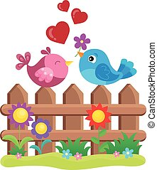 Valentine birds on fence theme 1