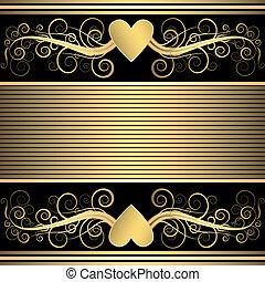 Valentine black and golden  background