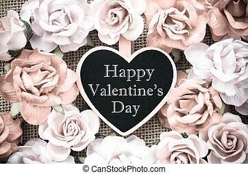 valentine, bois, étiquette, roses., jour, heureux
