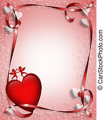 3D Valentine card. border, background or frame of illustrated hearts and ribbons
