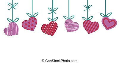 valentine border for greeting card with red and pink heart with stripes and dots hanging from green ribbon isolated on white background, happy valentines day cute vintage vector illustration.