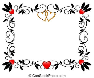 Valentine Border Hearts - Valentine illustration composition...