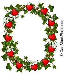 Valentine Border Ivy Wreath Hearts