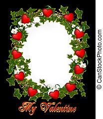 Valentine Border Ivy Wreath Hearts