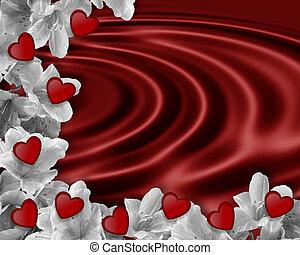 Valentine Border red satin - Image and illustration...