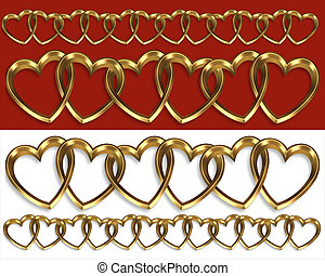 Valentine borders gold hearts