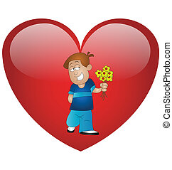 Valentine boy carrying flowers