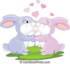 Valentine Bunnies - Two cute Valentine Bunnies holding hands...
