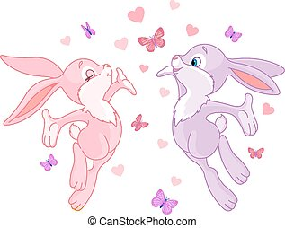 Valentine bunnies in Love are In the Air