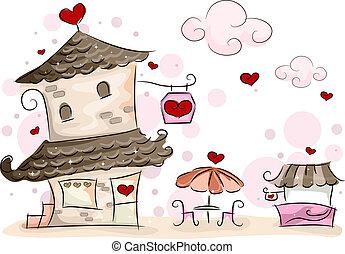 Valentine Cafe - Illustration of a Valentine-themed Coffee...