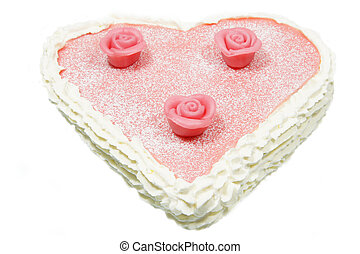 Valentine cake heart formed