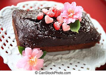 Valentine cake with fresh flowers