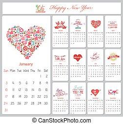 valentine, calendário, para, 2016