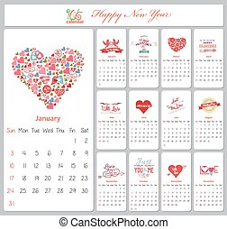 valentine calendar for 2016