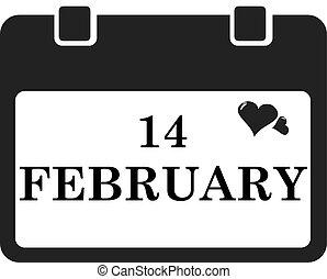 Valentine calendar icon in black color. Vector illustration