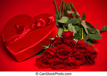 Valentine Candy Box and Roses on Red Background