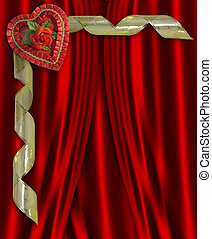 Valentine Candy Heart Red Satin - Image and illustration...