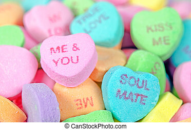 valentine candy hearts - Close up of candy hearts for...